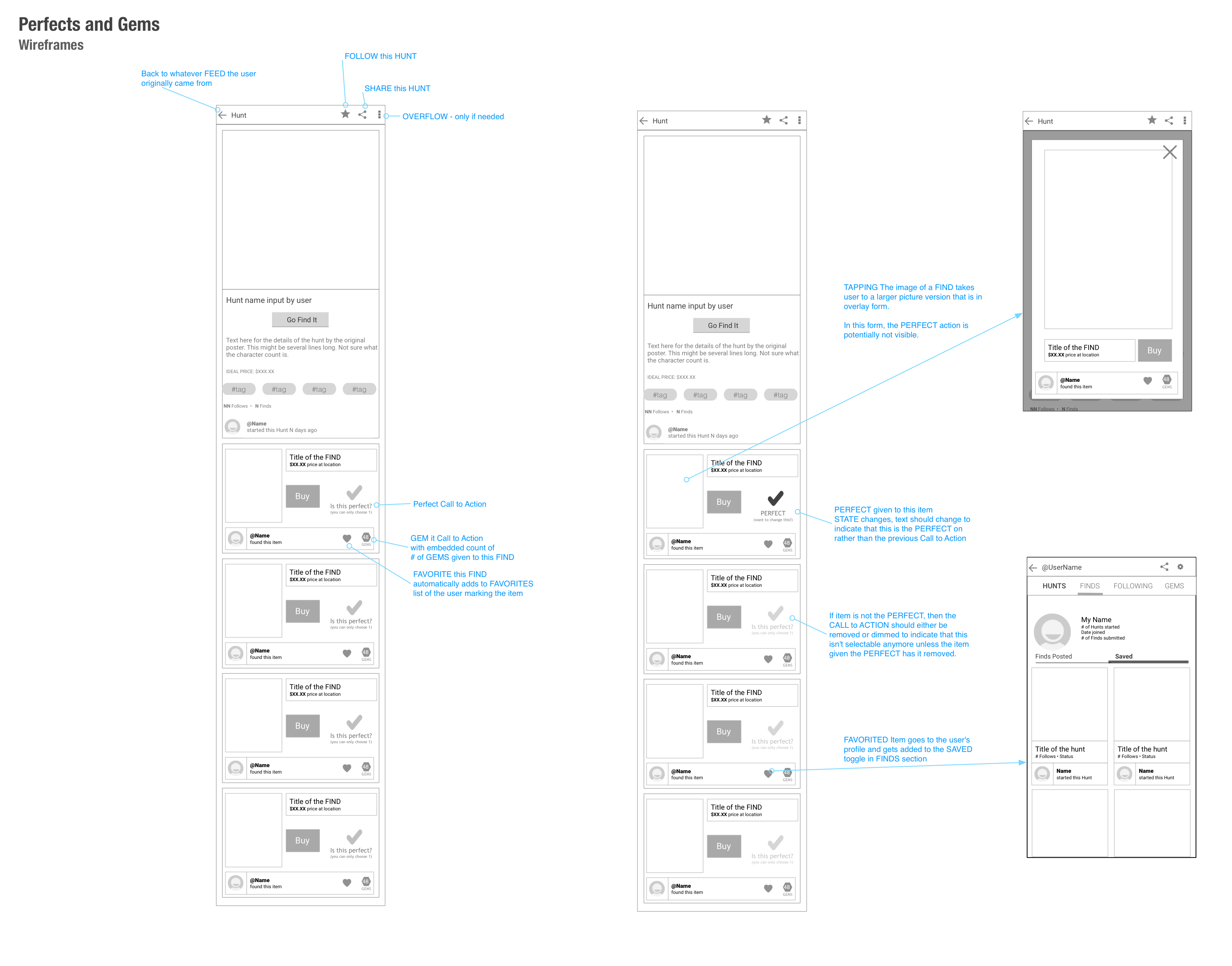 Perfects&Gems-Wireframes
